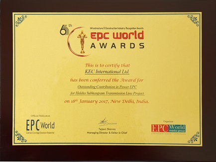 Industry Honour for Outstanding Contribution in Power EPC, at the 6th EPC World Awards