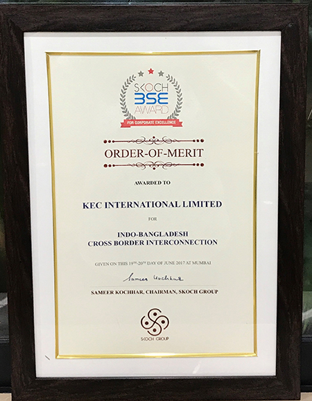 . KEC wins the Skoch Order of Merit for its Indo-Bangladesh Cross Border Interconnection, at the Skoch BSE Awards for Corporate Excellence.